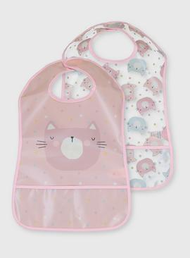 Pink Cat Bibs 2 Pack - One Size