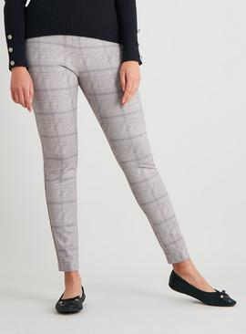 Grey Check Print Leggings