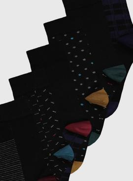Black Pattern Stay Fresh Ankle Socks 7 Pack