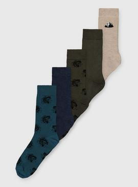 Mixed Pattern Ankle Socks 5 Pack