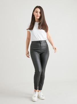 PETITE Pewter Sparkle Coated High Waisted Skinny Jeans