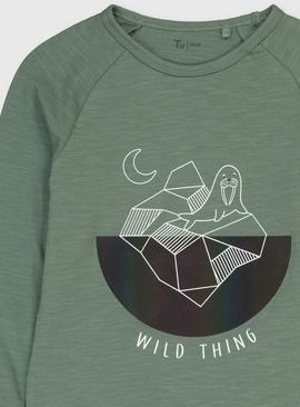 Green Walrus Graphic Long Sleeve Top