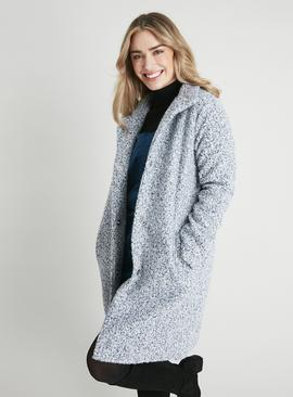 Blue Funnel Neck Bouclé Coat