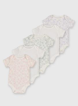 Floral Short Sleeve Bodysuit 5 Pack
