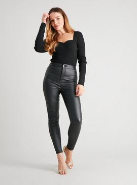 Sparkle Coated High Waisted Skinny Jeans