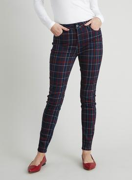 Check Print Skinny Jeans With Stretch