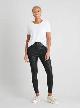 Zebra Coated High Waisted Skinny Jeans