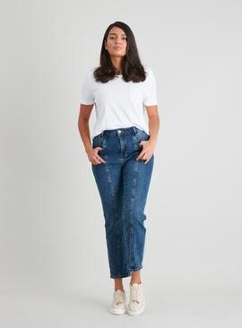 Dark Denim Straight Leg Panel Jeans With Stretch