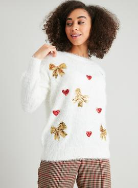Christmas Eyelash Fluffy Sequin Jumper
