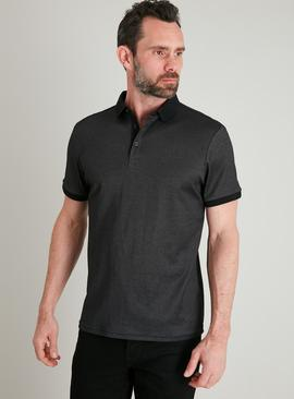 Black Cross Dye Polo Shirt