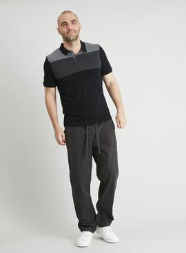 Black & Grey Colour Block Polo Shirt