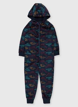 Navy Dinosaur Hooded All In One