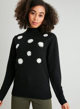 Black Daisy Funnel Neck Jumper