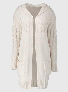 Cream Cable Knit Hooded Coatigan