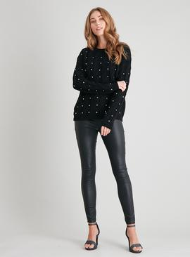 Black Cable Knit Studded Jumper