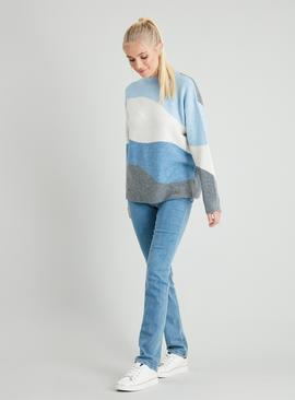 Blue Colour Block Wave Jumper