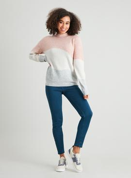 Pastel Colour Block Rib Knit Jumper