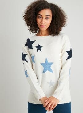 Cream & Blue Stars Jumper