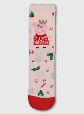Christmas Mini Me Peppa Pig Pink Mummy Pig Socks - 4-8