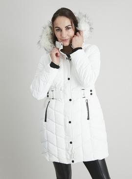 White Padded Chevron Longline Coat With Hood
