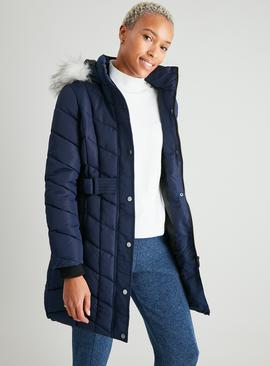 Navy Padded Chevron Longline Coat With Hood