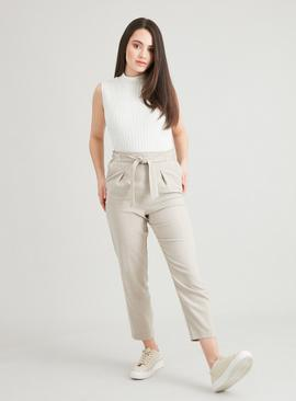 PETITE Neutral Wool-Look Tie Waist Trousers