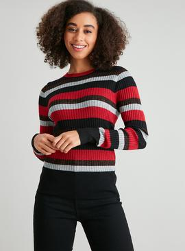 Ribbed Sparkle Stripe Skinny Rib Jumper