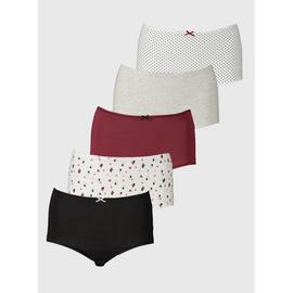 Spot, Triangle & Plain Full Knickers 5 Pack