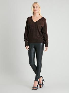 Brown Sparkle V-Neck & Back Jumper