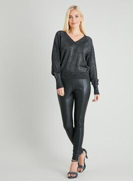 Black Sparkle V-Neck & Back Jumper