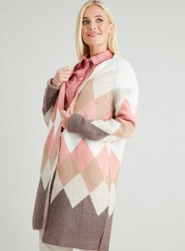 Pink & Cream Argyle Coatigan