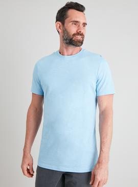 Blue Cotton Slub Crew Neck T-Shirt