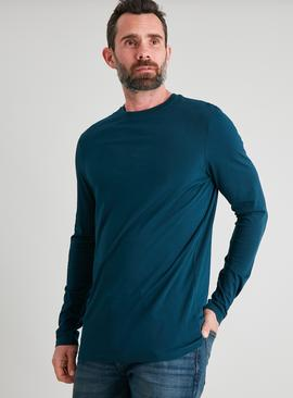 Teal Tall Fit Crew Neck Long Sleeve Top