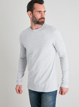 Grey Marl Tall Fit Long Sleeved Top