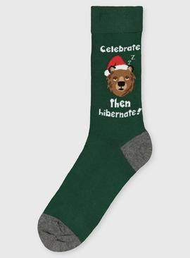 Christmas Green Santa Bear Ankle Socks - 6-11