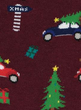 'Driving Home For Christmas' Burgundy Socks - 6-11