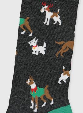 Christmas Grey Dog Print Ankle Socks - 6-11