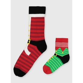 Christmas Mini Me Santa & Elf Socks 2 Pack - 6-11