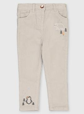Grey Snowy Mountain Corduroy Trousers