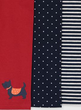 Stripe & Spotted Scottie Dog Legging 3 Pack