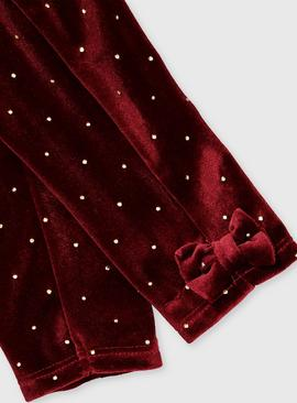 Red Velour Spot Party Leggings