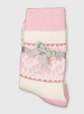 Pink Fair Isle Luxury Socks With Cashmere
