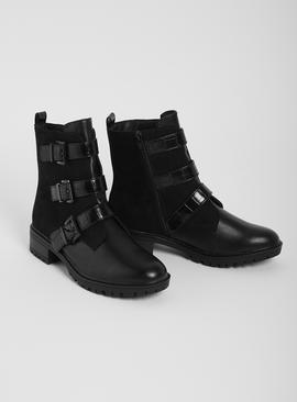 Sole Comfort Black Three Buckle Mock Croc Boots