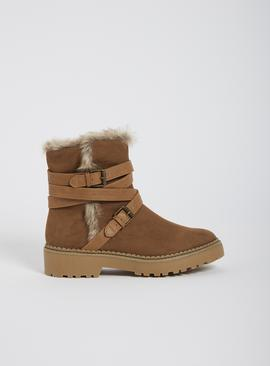 Sole Comfort Tan Multi Strap Chunky Boots