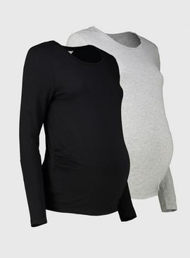 Maternity Crew Neck Long Sleeve Top 2 Pack