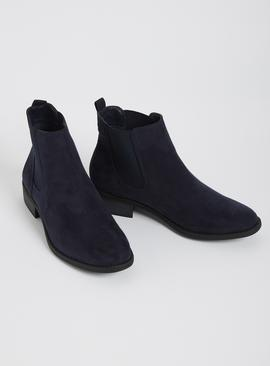 Navy Faux Suede Chelsea Boots