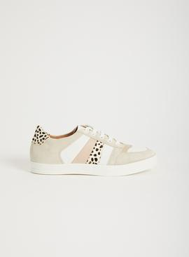 Sole Comfort Leather & Leopard Print Trainers