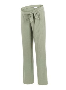Green Ribbed Jersey Trousers