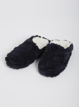 Navy Faux Fur Mule Slippers