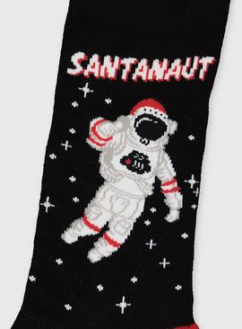 Christmas Santanaut Black Ankle Socks - 6-11